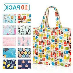 10 Pack Reusable Grocery Cloth Tote Bags with Pouch Durable