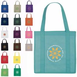 100 Personalized Reusable Grocery Tote Bags with Your Custom
