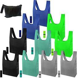 10pc Reusable Grocery Bag w Elastic Zipper Machine Washable