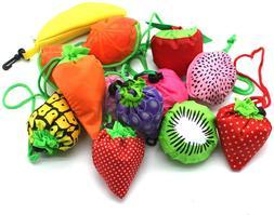 10PCS Fruits Reusable Grocery Shopping Tote Bags Folding Pou