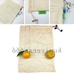 10x Cotton Produce Bag Mesh Bags Eco-Friendly Reusable Groce