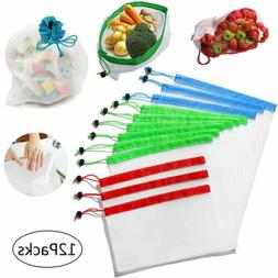 12 Pack Reusable Mesh Produce Bags Eco Grocery Rope Vegetabl
