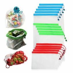 12pcs/lot Reusable Mesh Produce Bags Washable Eco Friendly B