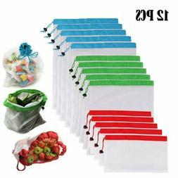 12x reusable mesh produce bags grocery food