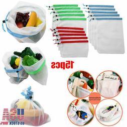 15pcs Eco Friendly Reusable Mesh Produce Bags Transparent Wa