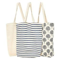 1X(3-Pack Reusable Cotton Grocery Shopping Tote Bags,3 Desig
