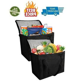 2 Insulated Reusable Grocery Bag with Zippered Top Insullate