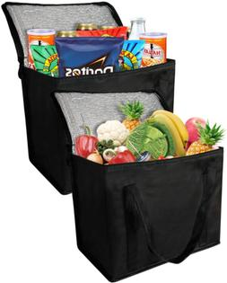 2 insulated reusable grocery bag with zippered