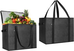 2 Pack Insulated Reusable Grocery Bag, Durable, Heavy Duty,