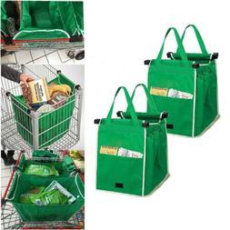 2 Pk Reusable Shopping Grab Bags Eco Foldable Trolley Tote G
