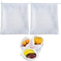 2 Reusable Produce Bag Drawstring Mesh Net Fruit Vegetable G