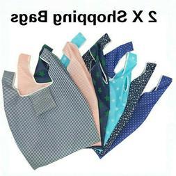 2 X Folding Shopping Bag Reusable Grocery Handbag Fruit Vege