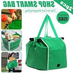 2pcs Reusable Shopping Bags Green Eco Foldable Handle Grocer