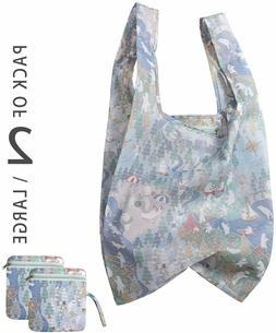 2PK Reusable Grocery Shopping Bags Polar Bears w/Zipper Pouc