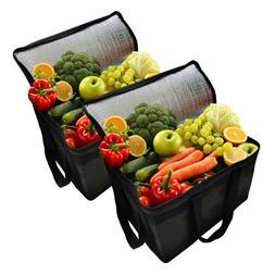 2Set Big Insulated Cooler Bag Reusable Grocery Shopping Bag