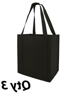 3 Grocery Bags Shopping  Black Reusable Eco Large Size Tote