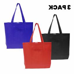 3 Pack Extra Large Reusable Heavy Duty Grocery Tote Shopping