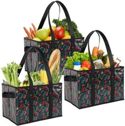 3 Pack Reusable Grocery Heavy Duty Grocery Totes Shopping Bo