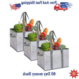 3 Pack Reusable Grocery Shopping strong Tote Bags Large Fold
