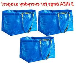 3 IKEA SHOPPING BAG NEW LARGE REUSABLE LAUNDRY TOTE GROCERY
