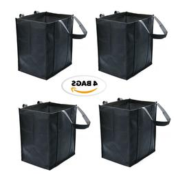 4 Pack Reusable Grocery Bags,Black Extra Large Shopping Tote