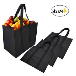 4 Pack Nonwovens Reusable Grocery Tote Bags,Durable Shopping