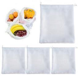 4 Reusable Produce Bag Drawstring Mesh Net Fruit Vegetable G