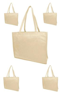 5 Jumbo Size Grocery Tote Shopping Bag Beige Reusable Eco Fr