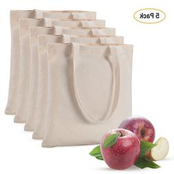 5Pack 100% Cotton Canvas Reusable Shopping Grocery Bag Tote