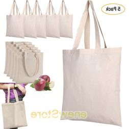5 Pack Bulk Cotton Canvas Tote Bags Reusable Grocery Shoppin