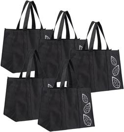 5 Piece Large Collapsible Shopping Bags Reusable Reinforced