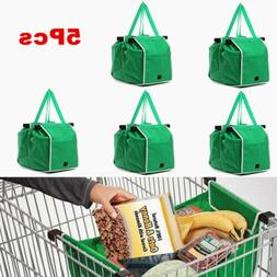 5pcs Foldable Shopping Reusable Eco Grocery Clip-To-Cart Tro