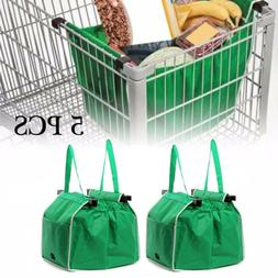 5X Reusable Shopping Grab Bags Fabric Grocery Foldable Troll