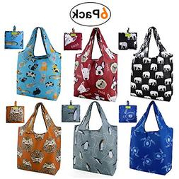 6 Pack Grocery Bags Reusable Foldable Shopping Large 50LBS C