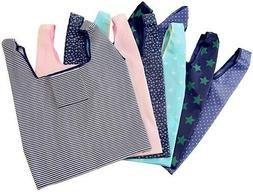 6 Pack of Folding Reusable Grocery Bags,Washable, Waterpro