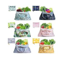 6 pack reusable grocery tote shopping bags