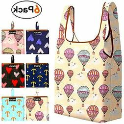 6 Pack Reusable Shopping Bags Packable Grocery Machine Washa