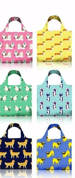 6 Pack Reusable Shopping Grocery Bags- Cute Dog Patterns