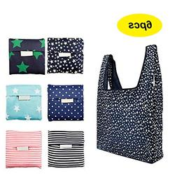 6 Pack Reusable Shopping Grocery Bags Foldable Washable Groc