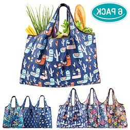 6 PK Grocery Shopping Bags Reusable Durable with Pouch Cute