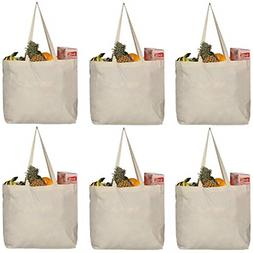 6 PK Reusable Grocery Bags with Extra Strong Handles Holds L