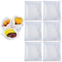 6 Reusable Produce Bag Drawstring Mesh Net Fruit Vegetable G