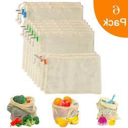 6PCS Simple Ecology Reusable Organic Cotton Mesh Grocery Sho