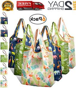 6X Reusable Grocery Shopping Bags with Pouch Heavy Duty Nylo