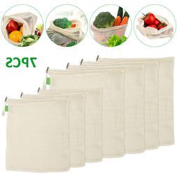 7X Eco Reusable Organic Cotton Mesh Bag Food Storage Shoppin