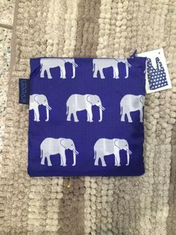 Big Baggu Reusable Bag Blue Elephant Print Laundry XL Grocer
