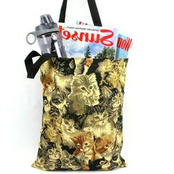 Cats Tapestry Shopping Bag Tote Bag Kitty Cat Foldable Reusa