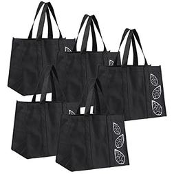Bekith 5 Piece Large Collapsible Shopping Bags Set,Black Reu