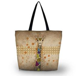 Cute Giraffe Washable Kitchen Reusable Grocery Bag Eco Shopp