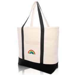 DALIX Cute Rainbow Tote Bag Reusable Grocery Teacher Bags Ec
